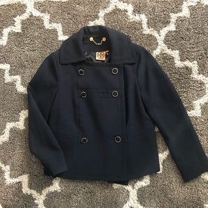 Tory Burch Double Breasted Navy Blazer Coat Size 4